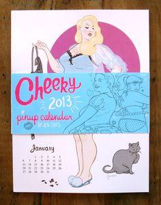 Cheeky  2013 Pinup Wall Calendar by jenoaks on Etsy, $25.00
