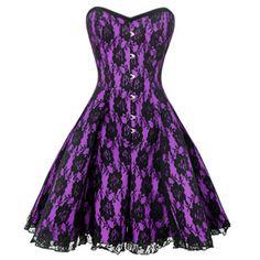 Lilafarbenes Ausgestelltes Satin Kleid mit schwarzer Spitzenüberlage in Blumenmuster