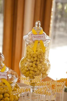 Sunshine Party: Sunshine drops in a jar.  Lemon candies of some kind.