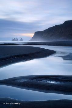 "Sunset over black sand beach at Vik i Myrdal, South Coast, Iceland... ""Vik Beach"" by Jarrod Castaing Fine Art Photography #jarrodcastaing at www.jarrodcastaing.com and www.facebook.com/JarrodCastaingPhotography"