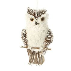 "RAZ Flat Back Owl Christmas Ornament  White, Brown Made of Styrofoam/Sisal Measures 9"" X 4.5"" Flat Backed"