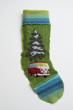 red vw van Christmas stocking by mtodesign on Etsy