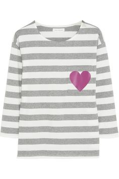 CHINTI AND PARKER Heart-print striped organic cotton-jersey top