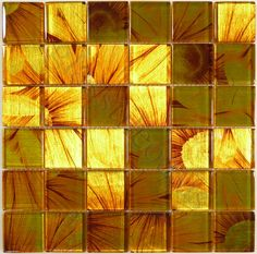 "Flicker Tile  Leaf Series, 2"" x 2"", Sunflower, Glossy, Yellow, Glass"