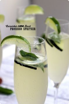 Cucumber Lime Basil Prosecco Spritzer recipe. Great refreshing summer happy hour drink from @fannetasticfood