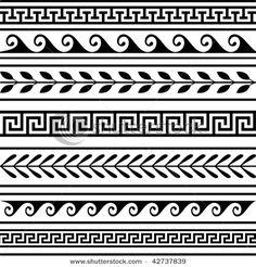 Vector - Set of geometric greek borders - stock illustration, royalty free illustrations, stock clip art icon, stock clipart icons,… Border Pattern, Border Design, Pattern Art, Art Patterns, Line Design Pattern, Pattern Design Drawing, Pottery Patterns, Pottery Designs, Pattern Ideas