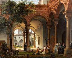 """Giovanni Migliara (Italian, 1785-1837), """"Luigi XIV e Miss de La Vallière nel Convento di Chaillot/Louis XIV and Miss de La Vallière in the Chaillot Convent"""" (1821) Oil on canvas, 60 x 73 cm Private collection"""