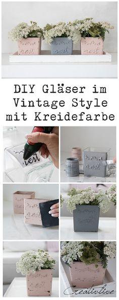 Gläser im Vintage Style mir Kreidefarbe gestalten. Sleeping Eyes/ Rosa-Grau Upcycling