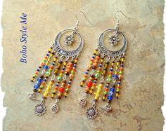 Boho Colorful Gypsy Indie Earrings Bohemian Tassel Earrings