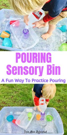 A fun and easy sensory bin to do at home with toddlers or preschoolers? This pouring sensory bin is a good activity for toddlers to practice pouring skills and so much fun! Quick and easy to set up and keeps toddlers entertained! games for toddlers Outdoor Activities For Toddlers, Toddler Learning Activities, Infant Activities, Preschool Activities, Kids Learning, Learning Skills, Motor Skills, Water Activities, Learning Games