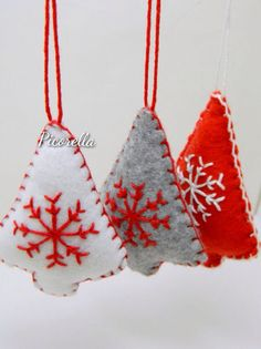 Set of 3 Christmas Tree Ornament // Felt Christmas by Picorella