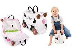 The limited edition Freida cow kids' suitcase includes all the clever design features of it's Trunki pals plus new features like extra internal compartments. Nice, Avengers, Kids Luggage, Clever Design, Travel With Kids, Travel Accessories, Piggy Bank, Suitcase, Children