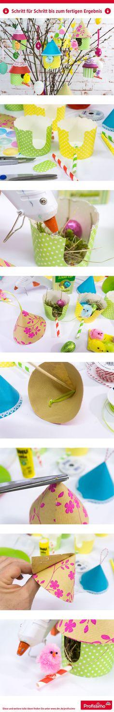 Kleine Deko - Vogelhäuschen // Minihäuschen als süße, besondere Idee für den Osterstrauß. Befüllt mit kleinen Schoko-Eiern sind die Vogelhäuschen ein originelles Geschenk oder Mitbringsel. // Eine Schritt-für-Schritt Anleitung finden Sie auf https://www.dm.de/dm-marken/profissimo/profissimo-kreativ/mini-vogelhaeuschen-c787070.html // #ProfissimoKreativ #basteln #Idee #Kreativ #DIY #Vogel #Vogelhäußchen #muffin #muffinbecher #vogelhaus #basteln #dm