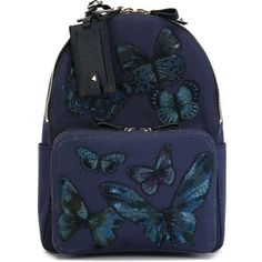 Valentino Garavani Embroidered Butterfly Backpack ($2,595) ❤ liked on Polyvore featuring bags, backpacks, blue, backpacks bags, knapsack bags, embroidered backpacks, embroidery bags and blue bag