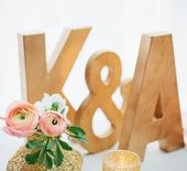 Gold Block Initials with Glitter Votive