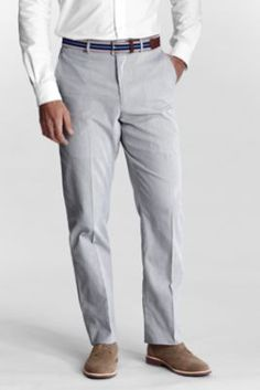 Men's Plain Front Traditional Fit Pincord Trousers from Lands' End