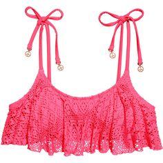 H&M Bikini top ($12) ❤ liked on Polyvore featuring swimwear, bikinis, bikini tops, swim, swimsuits, neon pink, flounce bikini top, swim tops, tankini swimsuit tops and ruffle bikini swimsuit