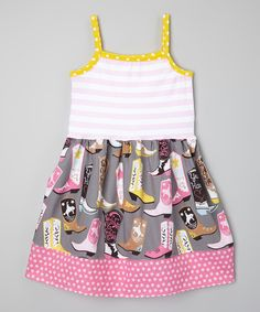 Loving this Sutton's Buttons Yellow & Gray Cowgirl Dress - Infant, Toddler & Girls on #zulily! #zulilyfinds