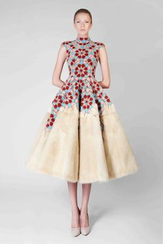 Hand Embroidered Couture Dress With Pearl Mink Fur