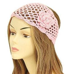 Pink Floral Knit Fashion Headwrap - Handbags, Bling & More!