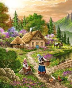 Belles images Makeup Products makeup products names and uses Kinkade Paintings, Farm Paintings, Scenery Paintings, Beautiful Landscape Wallpaper, Beautiful Paintings, Beautiful Landscapes, Cenas Do Interior, Landscape Art, Landscape Paintings