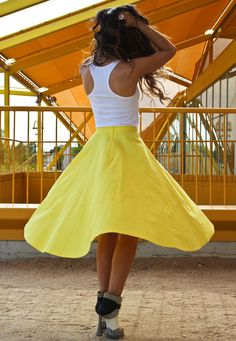 I like the yellow skirt.  The shoes are a bit weird though