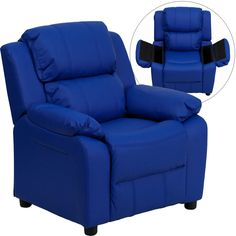 Flash Furniture Deluxe Padded Contemporary Blue Vinyl Kids Recliner with Storage Arms [BT-7985-KID-BLUE-GG]