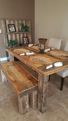 custom farm dining table with bench - $475 is not so bad...