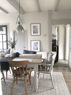 Dining room painted in Farrow and Ball Dining room, Farrow and Ball, Cottage, painted beams Living Room Colors, Living Room Grey, Living Room Designs, Living Room Decor, Cottage Living Rooms, Cottage Interiors, Interior Room Decoration, Interior Design, Home Decor