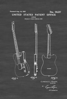 Fender Telecaster Guitar Patent 1951 - Patent Print Wall Decor Music Poster Music Art Musical Instrument Patent Guitar Patent Fender by PatentsAsPrints