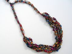 This necklace only requires a crocheted chain stitch that even the novice crocheter can accomplish.