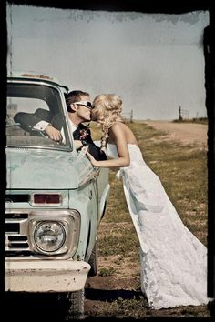wedding picture! totally doing this with Nel's truck!