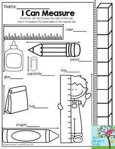 Inchworm Measurement and more Kindergarten review sheets