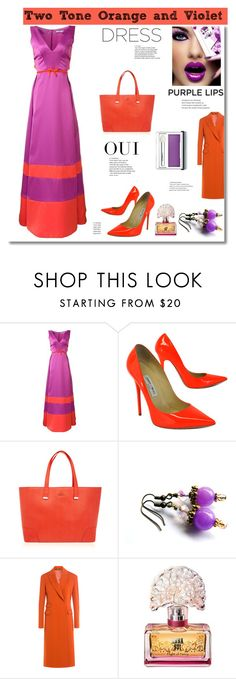 """""""Two Tone Dress"""" by belladonnasjoy ❤ liked on Polyvore featuring ZAC Zac Posen, Jimmy Choo, Furla, Oui, Maison Margiela, Anna Sui, Clinique and twotonedress"""