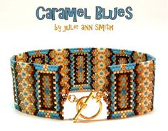 Julie Ann Smith Designs CARAMEL BLUES Odd Count Peyote