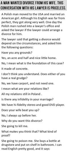 A Man Wanted Divorce From His Wife. This Conversation With His Lawyer Is Priceless.