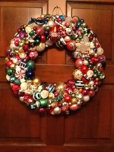 Used a lot of vintage ornaments in this wreath.