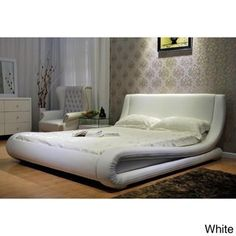 Contemporary Upholstered Bed (White - Eastern King), Greatime