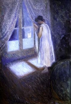 Girl Looking out the Window ~ Edvard Munch--Such a beautiful piece. The cool colors send a chill through my body.