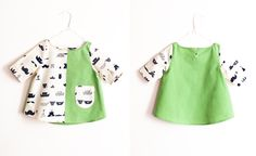 Maija Ukko apple green blouse with cream and navy print from Arty Baby $68. 100% handmade one-off piece. www.artybaby.com.au