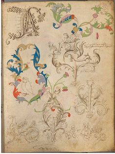 """Selected pages from the Spätgotisches Musterbuch des Stephan Schriber, a manuscript which appears to be some kind of sketchbook, belonging to a 15th century monk working in South-West Germany, where ideas and layouts for illuminated manuscripts were tried out and skills developed."""""""
