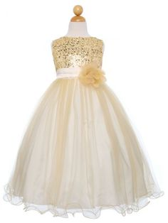 Gold Sequined Bodice with Double Tulle Skirt Flower Girl Dress (Sizes Infant-14 in 12 Colors)