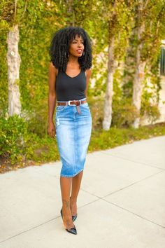 8 Best Jeans top Easy Hairstyle, braids hairstyles 16 fresh ways wear denim skirt Denim Pencil Skirt Outfit, Denim Skirt Outfit Summer, Long Skirt Outfits For Summer, Denim Skirt Outfits, Denim Skirts, Uni Outfits, Jean Skirts, Long Skirts, Denim Overalls