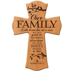 Personalized wall cross, wedding gift, Parent thank you Gift, Family Like branches on a tree, Parent gift ,anniversary gift, wall cross