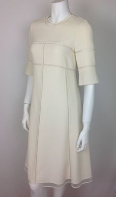 Chado Ralph Rucci cream crepe dress         NEW | From a collection of rare vintage day dresses at https://www.1stdibs.com/fashion/clothing/day-dresses/