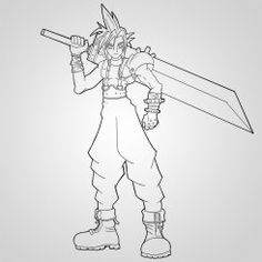 How To Draw Cloud Strife Rough Final Ink