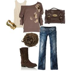 This outfit needs dark skinny jeans and a black tanktop underneath. The outfit could live without the scarf. After you loose the scarf and get different jeans all you need is a cute necklace perferably a dark brown bead necklace. Presto you have another great idea!