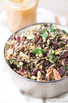 This harvest wild rice salad is filled with toasted pecans, dried cranberries, pepitas and baby kale. Served with a delicious pumpkin vinaigrette.