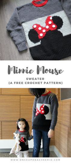 Crochet Toddler Sweater, Baby Girl Crochet, Crochet Baby Clothes, Crochet For Kids, Crochet Baby Sweater Pattern, Crochet Sweaters, Beanie Pattern, Mickey Mouse Pullover, Disney Pullover