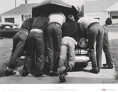 boys looking under the hood of a car Old Photos, Vintage Photos, Vintage Photographs, Thing 1, First Car, Black And White Photography, Framed Art Prints, Rockabilly, The Past